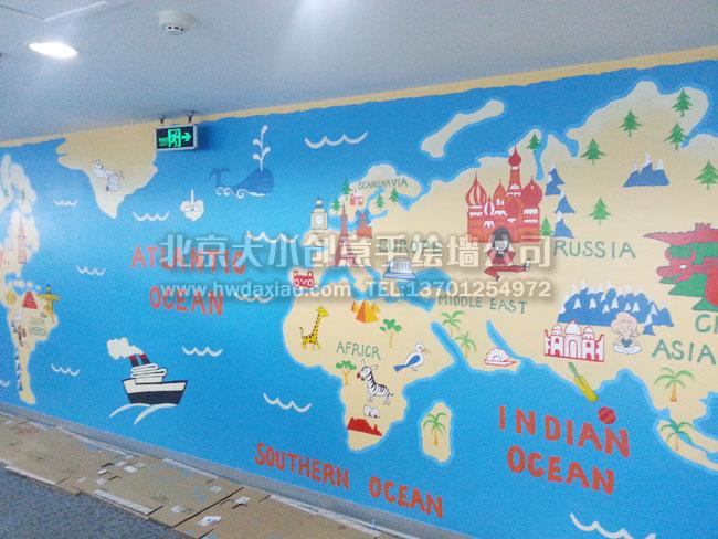 可爱卡通地图主题墙_墙体彩绘