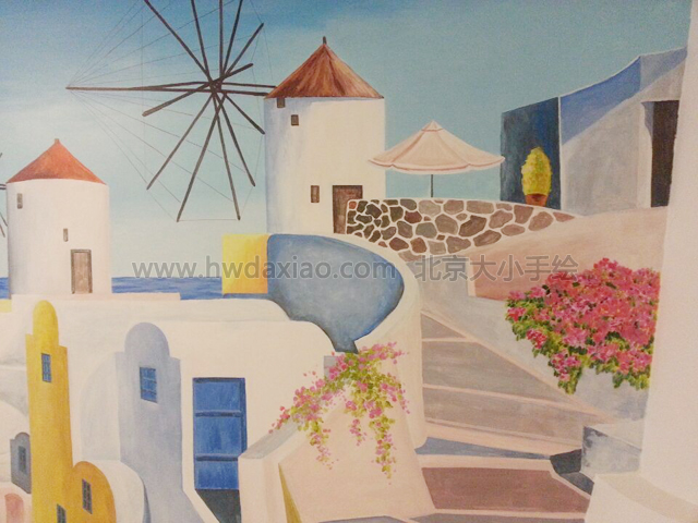 地中海风格手绘墙,墙体彩绘
