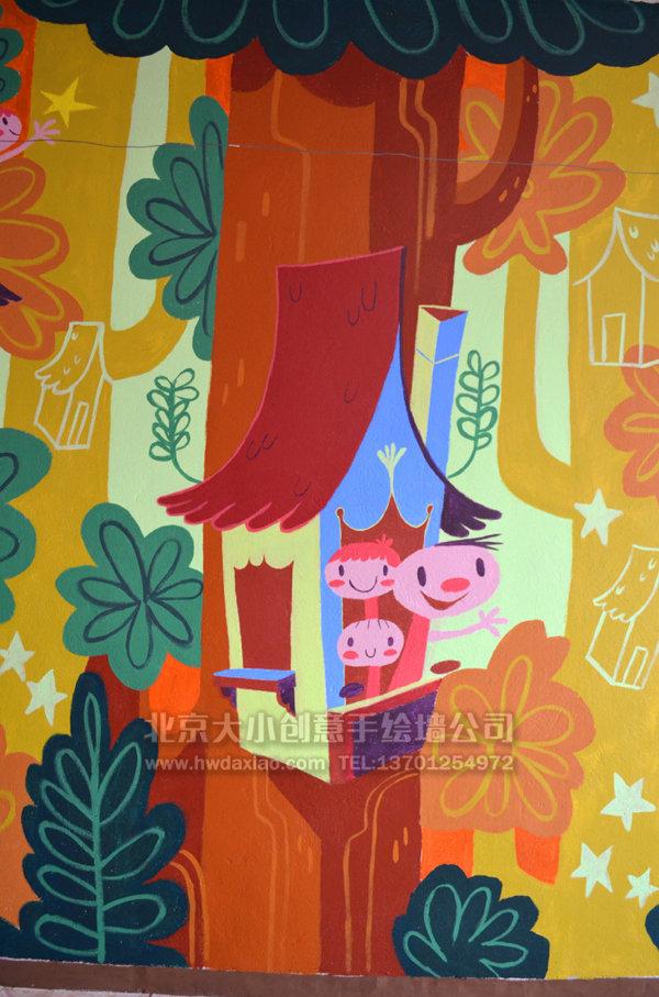可愛小精靈兒童房手繪墻體彩繪