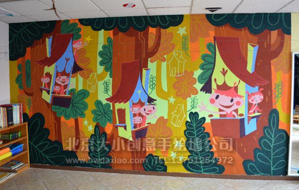 可爱小精灵儿童房手绘墙体彩绘