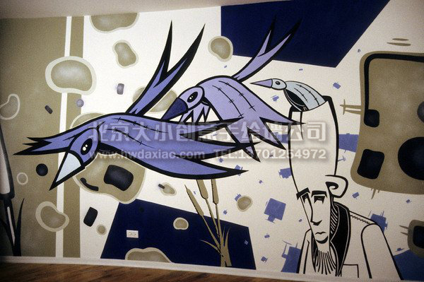 办公室涂鸦手绘墙壁画欣赏 墙体彩绘图片