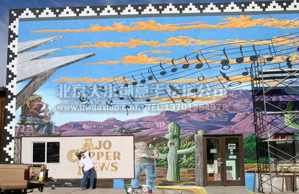 国外大型街边广告展板手绘 墙体彩绘