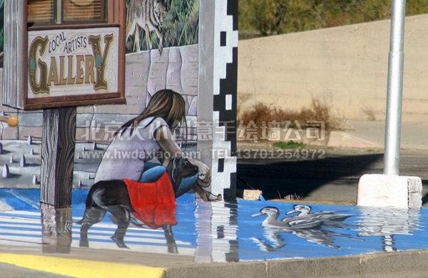 国外大型街边广告展板手绘 墙体彩绘图片