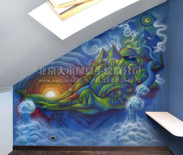 餐厅手绘墙 儿童房手绘墙 卧室手绘墙 卡通壁画 墙体彩绘 手绘壁画