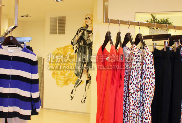 优雅服装店人物手绘墙