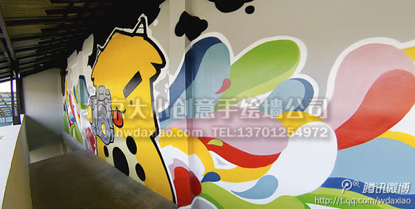 停车场手绘墙 儿童乐园墙绘