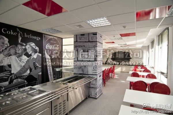 可乐公司复古手绘墙 墙体彩绘