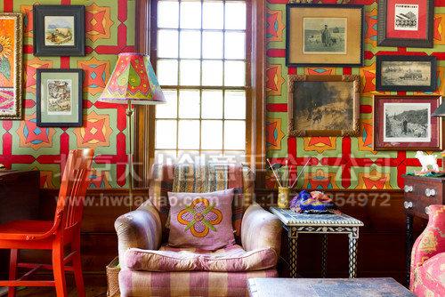 美式农场风格客厅手绘墙 墙体彩绘
