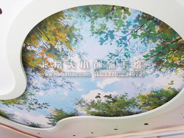 创意墙绘 别墅手绘墙 度假村手绘墙 天顶画 北京墙绘公司 手绘墙 墙体