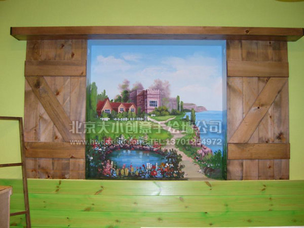 窗外的风景 客厅手绘墙 墙体彩绘
