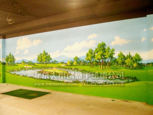 度假村高尔夫球主题手绘墙