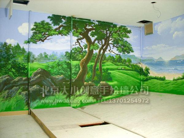 餐厅手绘墙 创意墙绘 别墅手绘墙 度假村手绘墙 文化墙壁画 北京墙绘