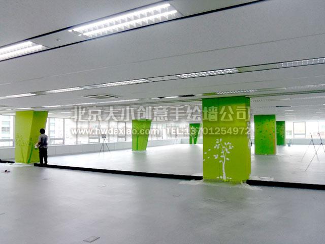 办公室设计手绘柱子,绿色植物剪影墙绘
