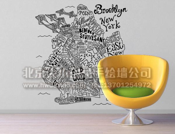 抽象简约黑白地图家居手绘墙