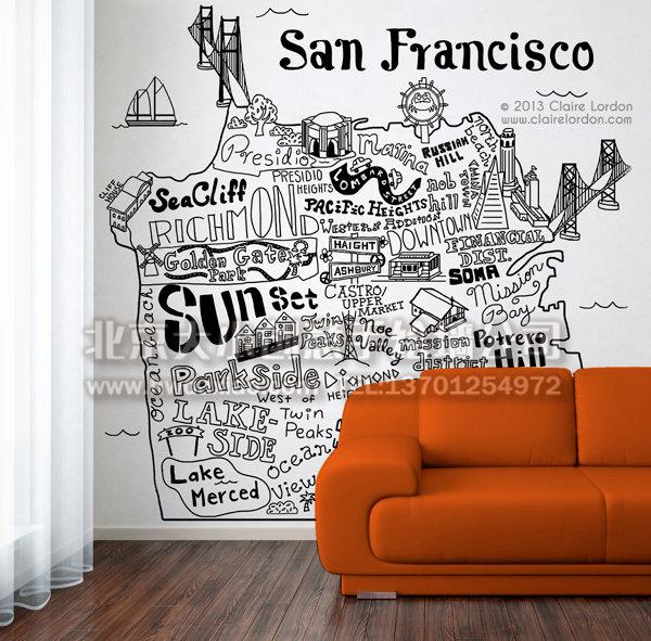 抽象简约黑白地图家居手绘墙 墙体彩绘