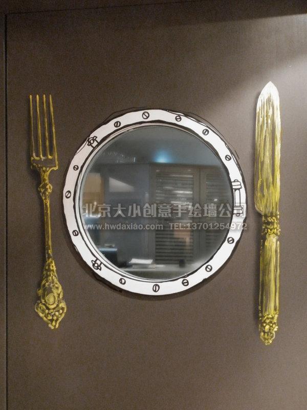 细腻豪华邮轮主题餐厅手绘墙