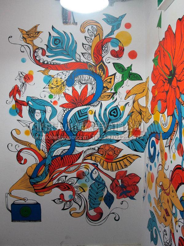 创意墙绘 办公室手绘墙 文化墙 餐厅手绘墙 楼梯间墙绘 手绘墙素材