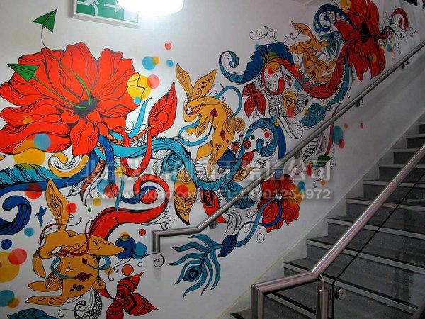 大方靓丽办公室楼梯间手绘墙 墙体彩绘