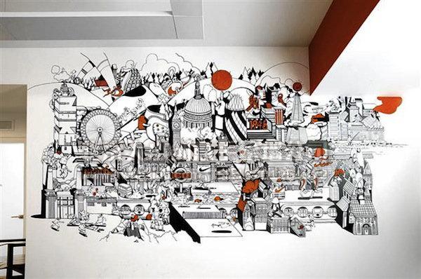 创意墙绘 办公室手绘 墙 创意墙绘 办公室手绘 墙
