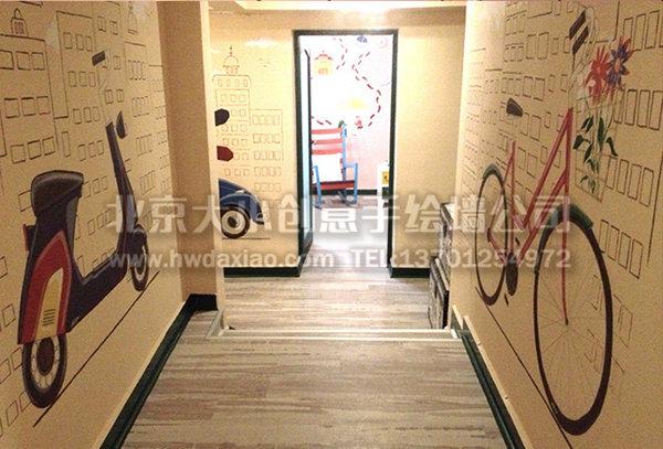 清新温暖主题餐厅手绘墙 墙体彩绘图片