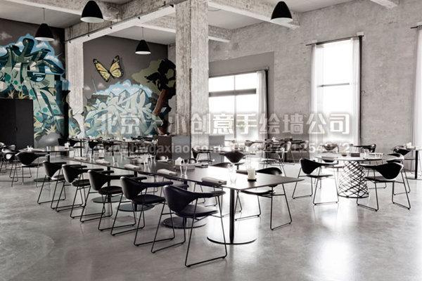 粗犷涂鸦风格餐厅手绘墙壁画