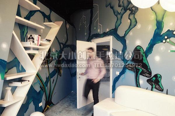 游戏公司宇宙飞船手绘墙 墙体彩绘
