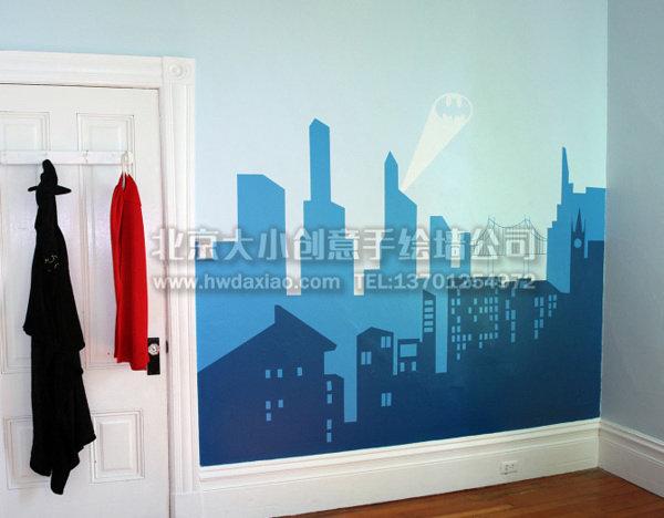 城市与英雄卧室手绘墙壁画 墙体彩绘