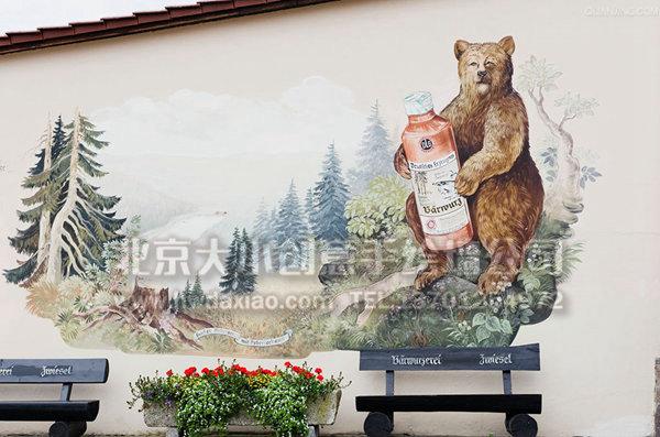 古典主题风旅店手绘墙壁画 墙体彩绘图片