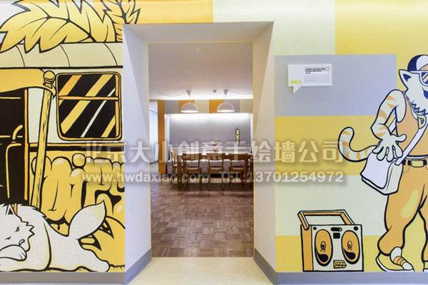 黑白涂鸦墙_舒适休闲卡通办公区手绘墙壁画 墙体彩绘-大小墙体彩绘公司