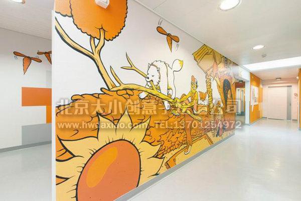 舒适休闲卡通办公区手绘墙壁画 墙体彩绘图片