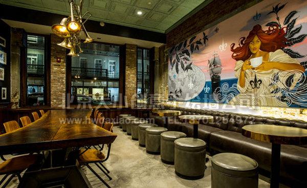典雅美式咖啡厅手绘墙壁画