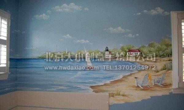 客厅手绘墙 儿童房彩绘 风景壁画 墙体彩绘 手绘壁画 墙绘价格 北京