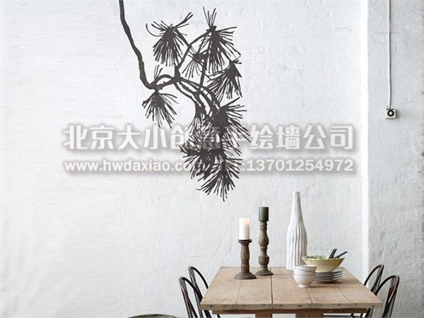 简约剪影风格家居手绘墙壁画 墙体彩绘