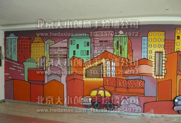 卡通街景办公空间手绘墙壁画 墙体彩绘图片