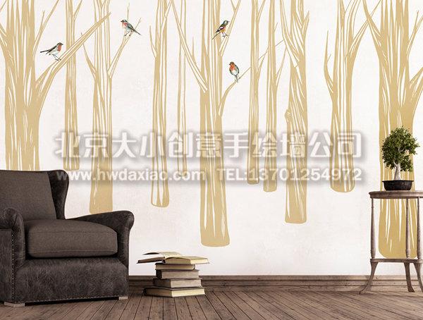 燕子树林家居客厅手绘墙壁画 墙体彩绘