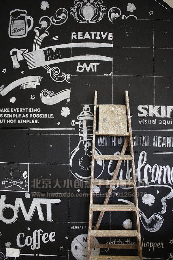 黑白手绘线条画_炫酷粉笔手绘墙壁画 墙体彩绘-大小墙体彩绘公司