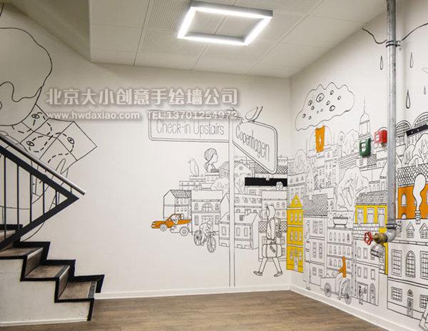 餐厅手绘墙 楼梯间彩绘