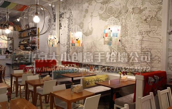 餐厅手绘墙 酒吧墙绘 咖啡厅墙绘 花纹彩绘 藤蔓彩绘 创意墙绘 手绘涂