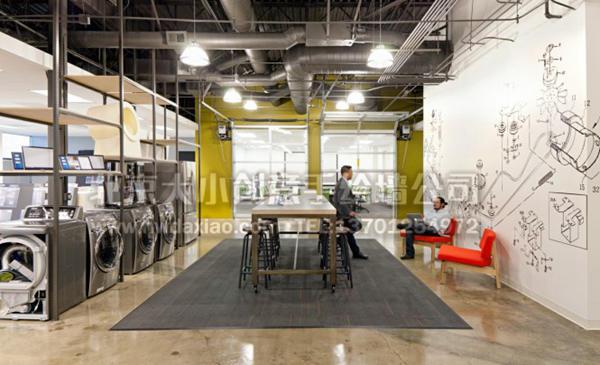设计公司机械图纸线描手绘墙壁画