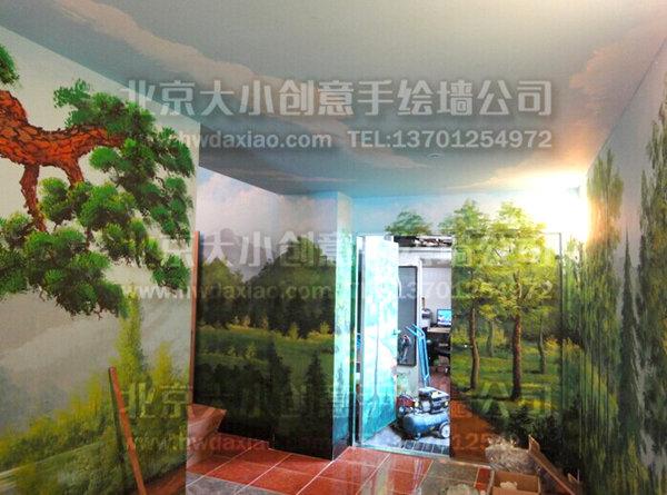 学生宿舍森林走廊手绘墙壁画 墙体彩绘
