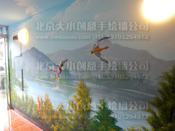 别墅走廊唯美逼真风景手绘墙壁画 墙体彩绘