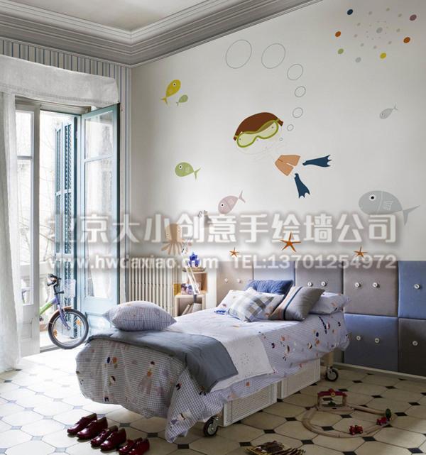 创意墙绘 海底世界彩绘 婴儿房彩绘 儿童房手绘墙 卡通墙绘 卧室墙面