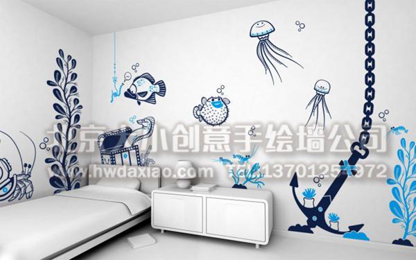 海底世界主题儿童房手绘墙壁画 墙体彩绘图片