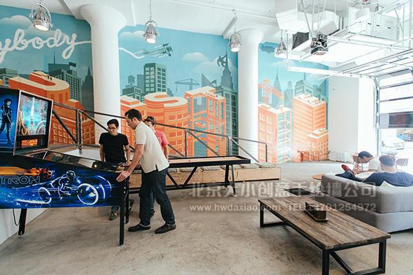 城市之光主题餐厅手绘墙壁画