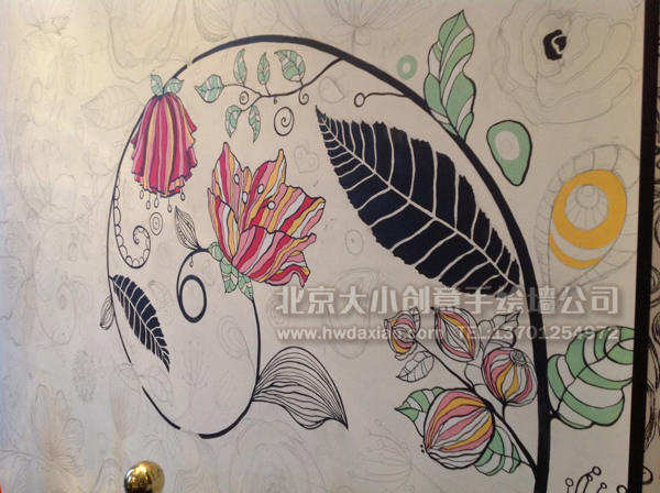 优雅复古藤蔓花卉艺术手绘墙壁画 墙体彩绘