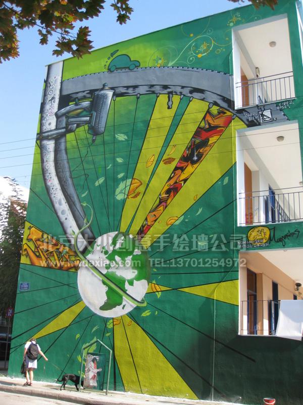 外墙彩绘 校园手绘墙
