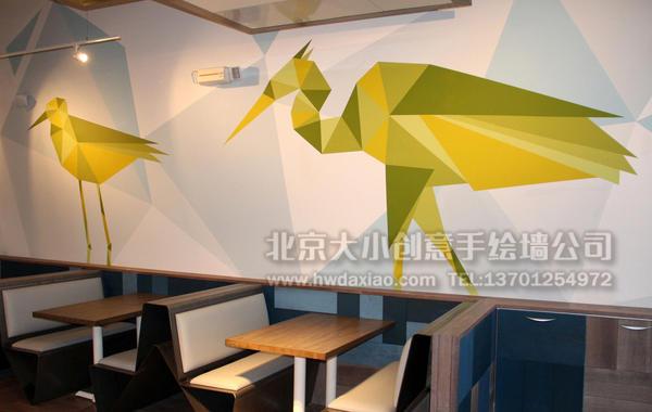 几何拼贴风格荧光鸟手绘墙壁画