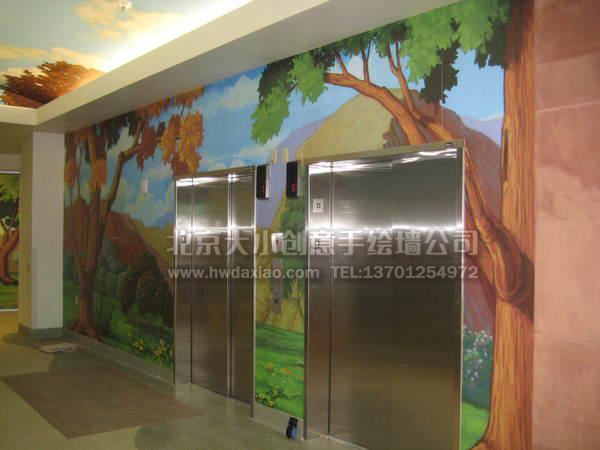 森林风格儿童早教培训中心手绘墙壁画 墙体彩绘