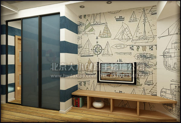 船只结构图儿童房手绘墙壁画 墙体彩绘图片