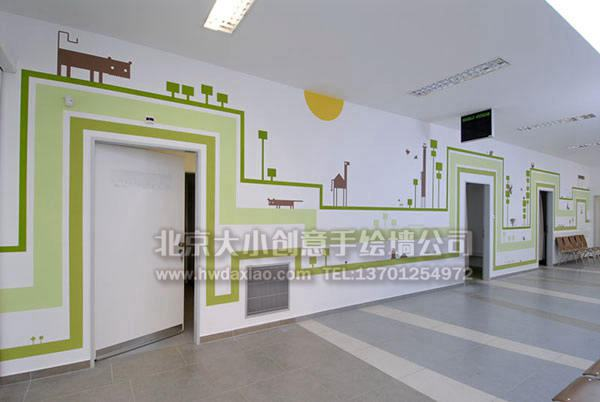 墙绘 清新手绘 办公室手绘墙 外墙彩绘 培训中心彩绘 校园文化墙 走廊